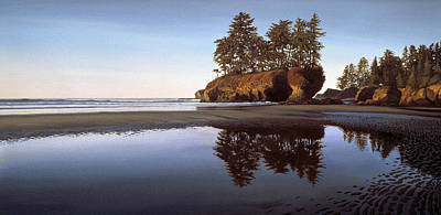 Olympic National Park Painting - Afterglow Salt Creek Beach Washington by Cliff Wassmann