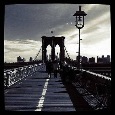 Time Photograph - Afternoon On The Brooklyn Bridge by Luke Kingma