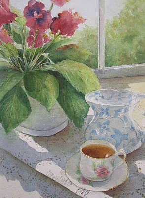 Gloxinias Painting - Afternoon Tea by Carole E Raymond