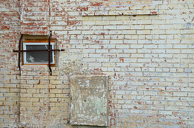 Aged Brick Wall With Character Art Print