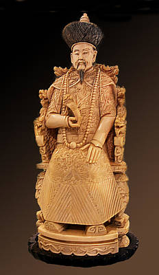 Ivory Carving Photograph - Aged Chinese Carving Of A Gentleman by Linda Phelps