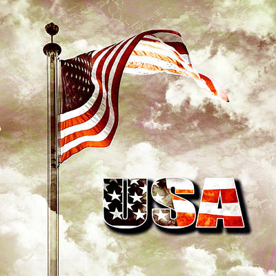 4th July Digital Art - Aged Usa Flag On Pole by Phill Petrovic