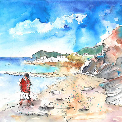 Travel Sketch Drawing - Agia Galini 01 by Miki De Goodaboom
