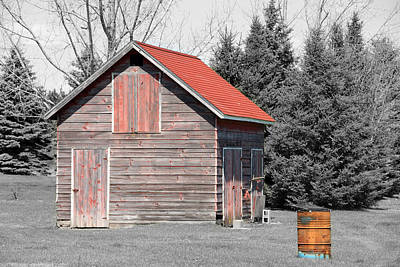 Photograph - Aging Shed And Barrel by Mark J Seefeldt