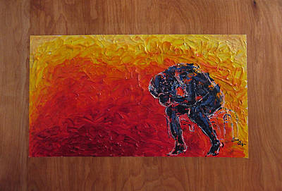 Art Print featuring the painting Agony Doubled Over In Flames On Wood Panel by M Zimmerman