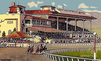 Painting - Agua Caliente Jockey Club And Racetrack In Tijuana Mex In 1930 by Dwight Goss