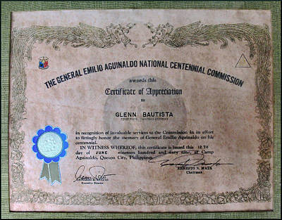 Photograph - Aguinaldo Certificate Of Appreciation by Glenn Bautista
