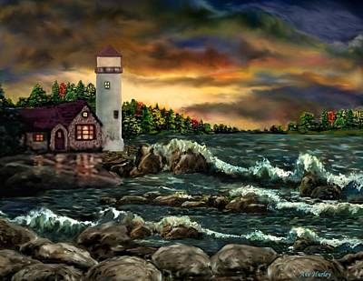 Ah-001-015 David's Point Lighthouse  - Ave Hurley Art Print by Ave Hurley