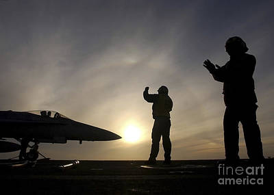 Animal Watercolors Juan Bosco - Ailors Give Taxi Signals To An Fa-18 by Stocktrek Images