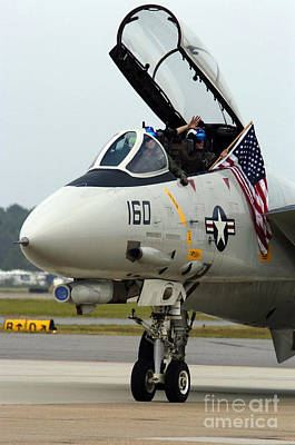 Photograph - Air Crewmen Wave From Their F-14d by Stocktrek Images