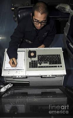 Katharine Hepburn - Air Traffic Controller Records Incoming by Stocktrek Images