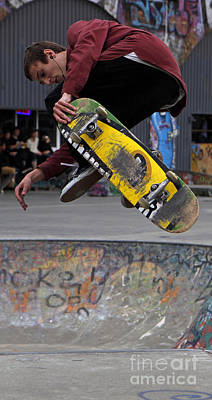 Airbourne Skateboarder Print by Urban Shooters