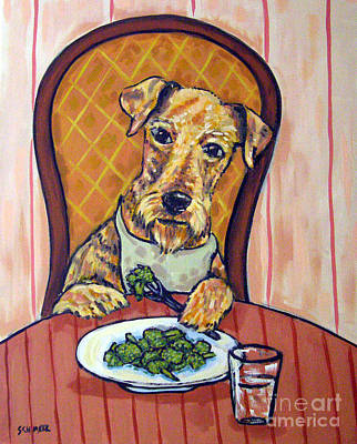 Broccoli Painting - Airedale Terrier Eating Broccoli by Jay  Schmetz