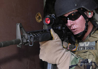 Telescopic Image Photograph - Airman Posts Security At The Front Door by Stocktrek Images