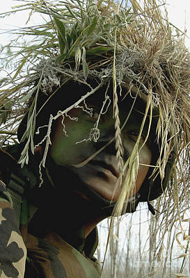 Airman Wearing A Ghillie Suit Art Print by Stocktrek Images