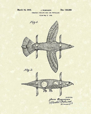 Drawing - Airplane Bird Body Design 1943 Patent Art by Prior Art Design