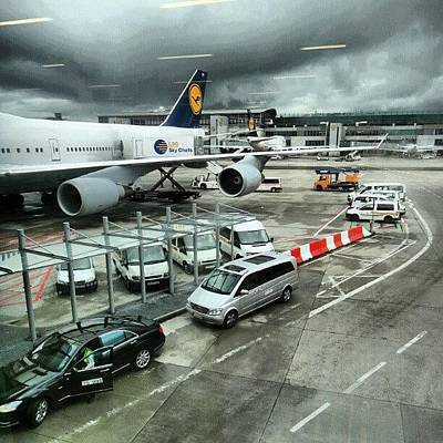 #airport #manchester #plane #car #cloudy Art Print