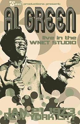 Rhythm And Blues Digital Art - Al Green Poster by Dean Tomasek
