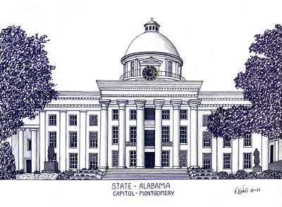 Drawing - Alabama State Capitol by Frederic Kohli