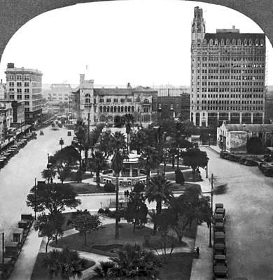 1910s Photograph - Alamo Plaza In San Antonio by Underwood Archives