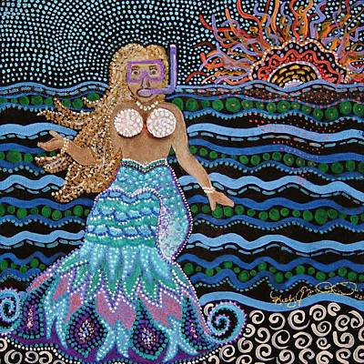 Painting - Alan Spots A Mermaid At The Great Barrier Reef by Kelly Nicodemus-Miller