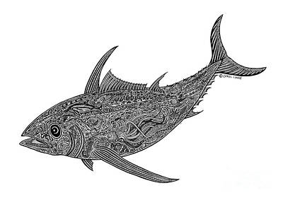Scuba Diving Drawing - Tribal Albacore by Carol Lynne