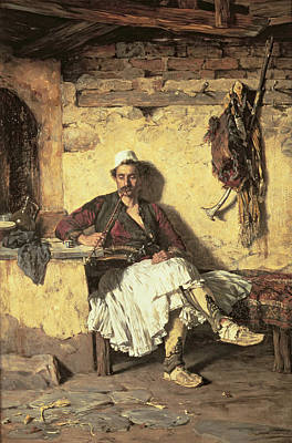 Albania Painting - Albanian Sentinel Resting by Paul Jovanovic