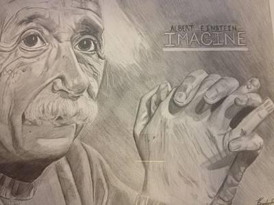 Einstein Drawing - Albert Einstein Imagine  by Keith Evans