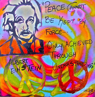 Liberal Painting - Albert Einstein Peace by Tony B Conscious