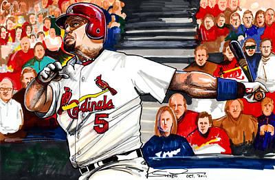 St.louis Cardinals Drawing - Albert Pujols by Dave Olsen