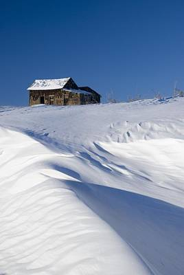 Snow Banks Photograph - Alberta, Canada Abandoned Farm Building by Philippe Widling