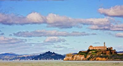 Sailboat Ocean Digital Art - Alcatraz Island by Patricia Stalter