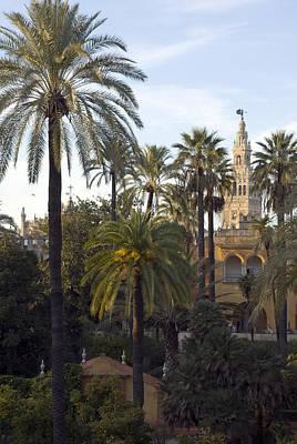 Alcazar Palace Gardens With The Giralda Art Print