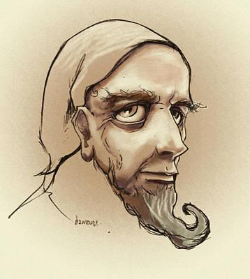 Old Man Digital Art - Alchemist Sketch by Dorianne Dutrieux