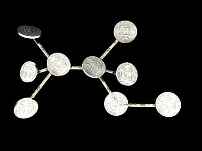 Alcohol Molecule Made Out Of Coins Art Print