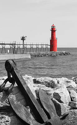Photograph - Algoma Lighthouse Is Anchored by Mark J Seefeldt