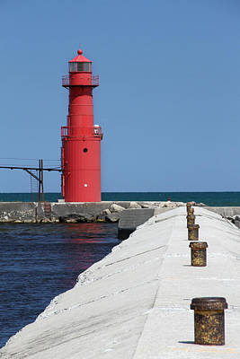 Photograph - Algoma Lighthouse Pier by Mark J Seefeldt