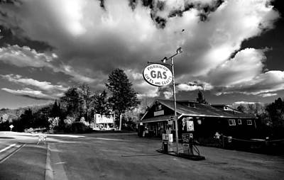 Balck And White Photograph - Algonquin Gas Station by Cale Best