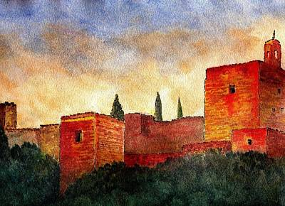 Alhambra At Sunset Art Print by Barbara Smith