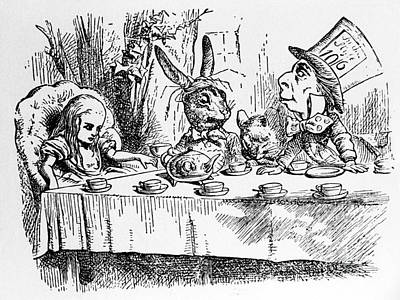 Pen And Ink Drawing Photograph - Alice In Wonderland by Photo Researchers, Inc.