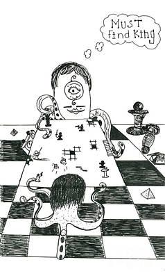 Alien Chess Art Print by Michael Mooney