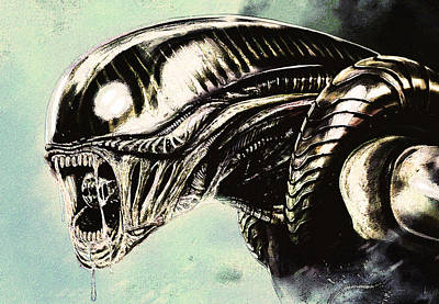 Drawing - Alien by Jeff DOttavio