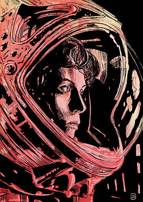Science Fiction Drawing - Alien Sigourney Weaver by Giuseppe Cristiano
