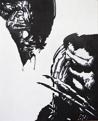 Alien Vs Preditor Art Print by Stephen Ford
