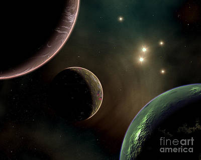 Alien Worlds That Orbit Different Types Print by Mark Stevenson