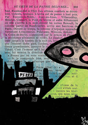 Scifi Drawing - Aliens Love Pizza by Jera Sky