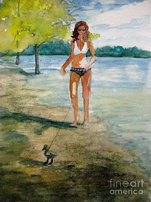Painting - Aline Walking A Duckling by Gretchen Allen
