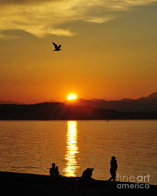 Photograph - Alki Beach Sunset by Jack Moskovita