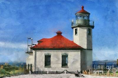 Digital Art - Alki Point Lighthouse In Seattle Washington by Mary Warner