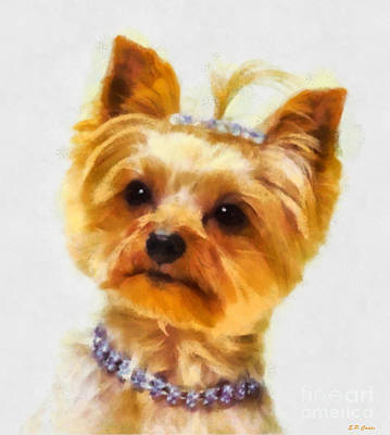 Yorkshire Terrier Watercolor Painting - All Dressed Up by Elizabeth Coats